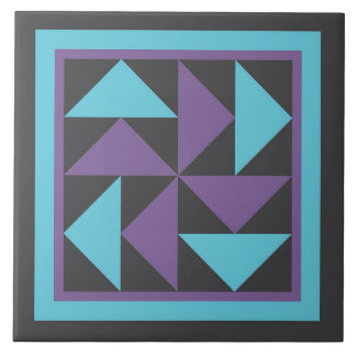 Quilt Trivet - Dutchman's Puzzle (purple/black) Large Square Tile