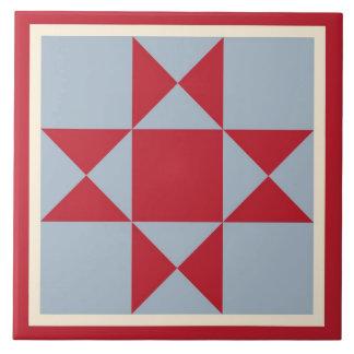 Quilt Trivet – Ohio Star (scarlet/grey)
