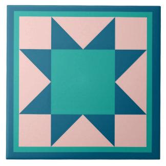 Quilt Trivet – Sawtooth Star (teal)