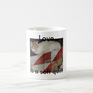 quilt with cat - Copy, Love, Is a soft quilt Coffee Mug