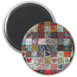 quilt with hearts 6 cm round magnet