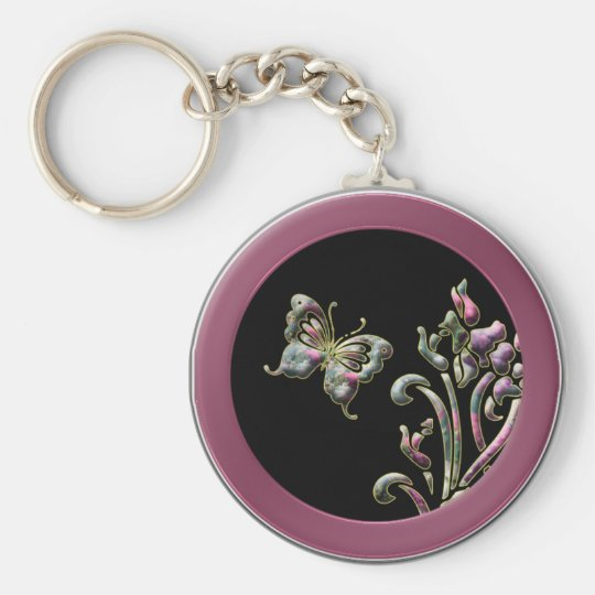Quilted Butterfly Basic Round Button Key Ring