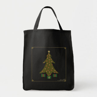 Quilted Christmas Dark Tote Bag