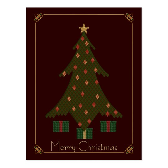 Quilted Christmas Postcard