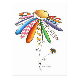 Quilted Colorful Flower Postcard