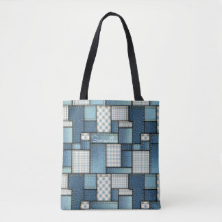 Quilted Denim Tote Bag