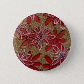 Quilted Flowers - Hand Carved Block - Red Pink 6 Cm Round Badge