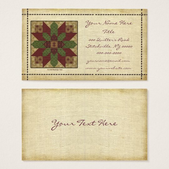 Quilted Green Burgundy Star Business Card