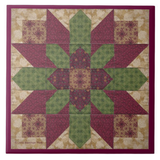 Quilted Green Burgundy Star Large Square Tile