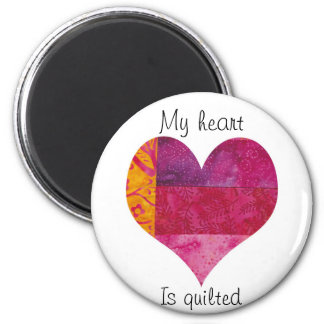 Quilted Heart 6 Cm Round Magnet