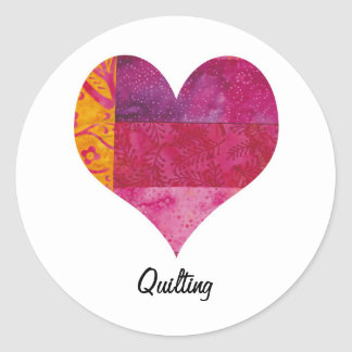 Quilted Heart Classic Round Sticker
