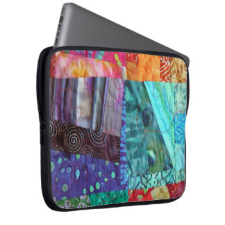 Quilted Look Of Colorful Batik Squares Photo Laptop Sleeve
