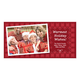 Quilted Red Holiday Photocard Personalised Photo Card