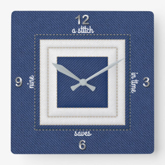 Quilted Stitch in Time Saves Nine in Navy & White Wallclock