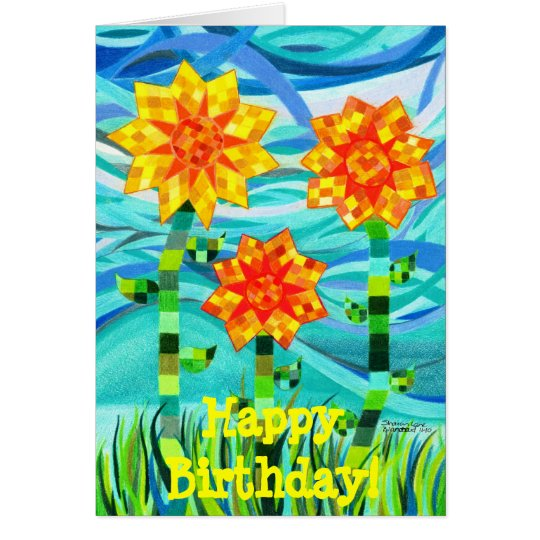 Quilted Sunflowers Birthday Card