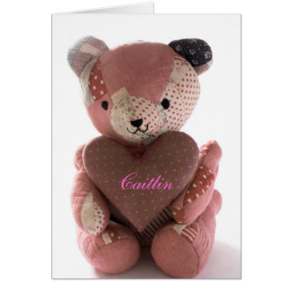 quilted teddy bear with calico heart Caitlin Cards