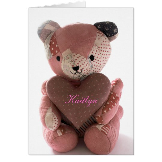 quilted teddy bear with calico heart Kaitlyn Card
