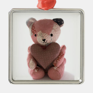 quilted teddy bear with heart premium ornament