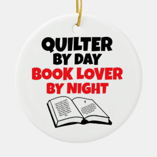Quilter by Day Book Lover by Night Christmas Ornament
