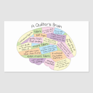 Quilter's Brain Rectangular Sticker