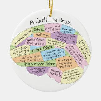Quilter's Brain Round Ceramic Decoration