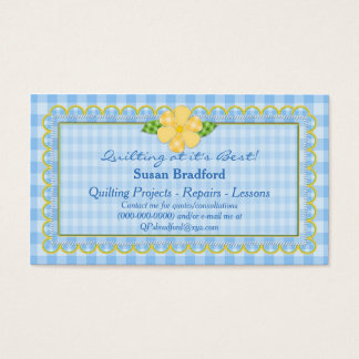 QUILTING BUSINESS CARDS - BLUE GINGHAM