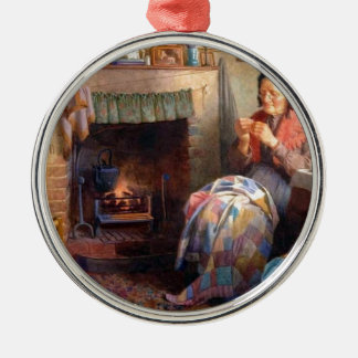 Quilting by the fireplace christmas ornament