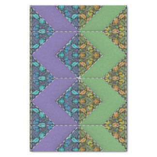 """Quilting in Purple & Green Chevrons 10"""" X 15"""" Tissue Paper"""