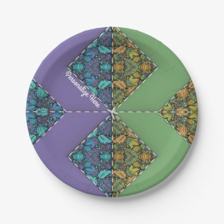 Quilting in Purple & Green Chevrons 7 Inch Paper Plate