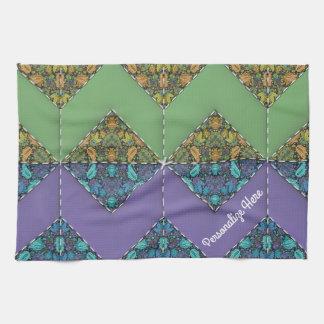 Quilting in Purple & Green Chevrons Tea Towel