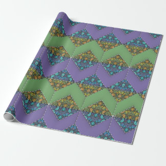 Quilting in Purple & Green Chevrons Wrapping Paper