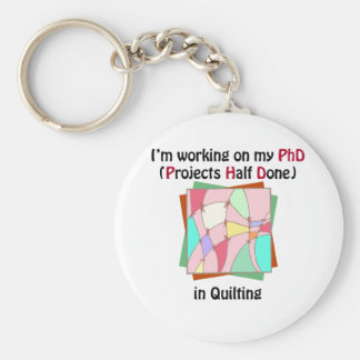 Quilting PhD Basic Round Button Key Ring