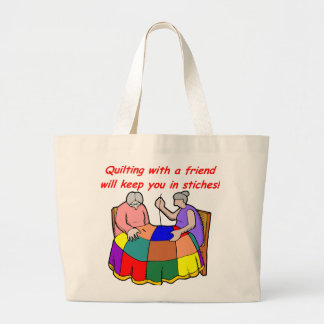 Quilting with a friend large tote bag