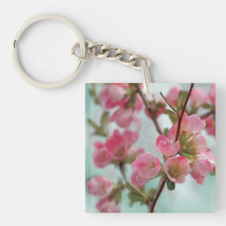 Quince Blossoms Double-Sided Square Acrylic Key Ring
