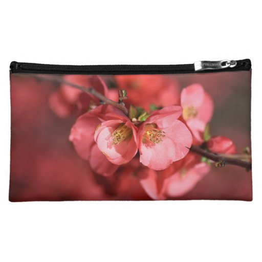 Quince Red Flower Medium Cosmetic Bag
