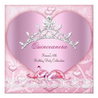 Quinceanera 15 15th White Pink Swans Tiara Heart Card