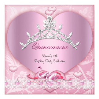 Quinceanera 15 15th White Pink Swans Tiara Heart Personalized Invites