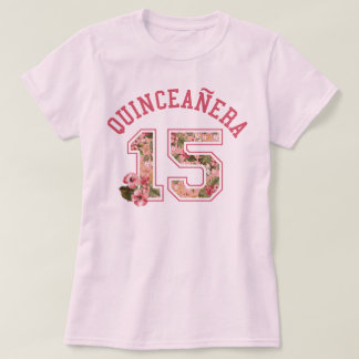 Quinceanera 15 Athletic Pink Floral T-Shirt