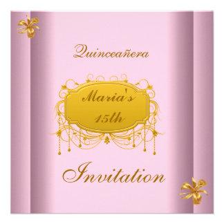 Quinceañera 15 Birthday Invitation Pink Gold