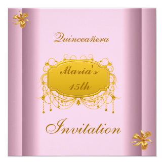 """Quinceañera 15 Birthday Invitation Pink Gold 5.25"""" Square Invitation Card"""