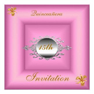 Quinceañera 15 Birthday Invitation Pink Silver