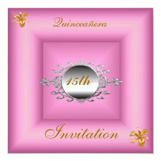 """Quinceañera 15 Birthday Invitation Pink Silver 5.25"""" Square Invitation Card"""