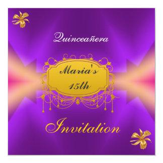 """Quinceañera 15 Birthday Invitation Purple 5.25"""" Square Invitation Card"""