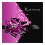 "Quinceanera 15 Birthday Party Hot Pink Black 5.25"" Square Invitation Card"