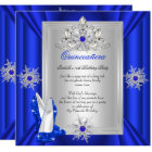Quinceanera 15 Birthday Party Royal Blue Heels Card