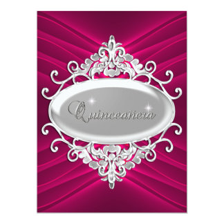 Quinceanera 15 Birthday Party Silver Pink Glitter 17 Cm X 22 Cm Invitation Card