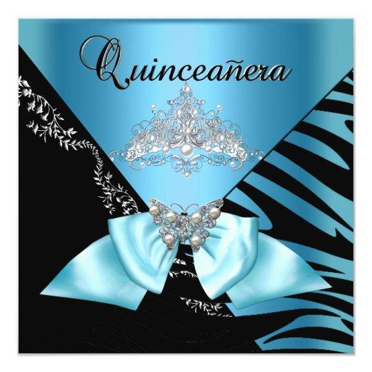Quinceanera 15  Birthday Zebra Blue Black Tiara Card