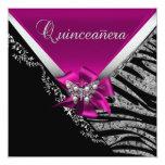 Quinceanera 15  Birthday Zebra Pink Black Silver 13 Cm X 13 Cm Square Invitation Card