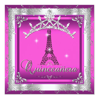 Quinceanera 15 Pink Silver Tiara Eiffel Tower 13 Cm X 13 Cm Square Invitation Card