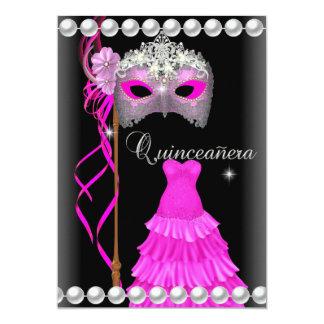 Quinceanera 15 Tiara Gown Pink Mask Silver black 13 Cm X 18 Cm Invitation Card